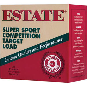 "Estate Cartridge Super Sport Competition Target Load 12 Gauge Ammunition 2-3/4"" Shell #8 Lead Shot 1oz 1290fps HDCP"