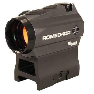 SIG Sauer Romeo4DR Red Dot Optic 1x Dot or Circle Dot Reticle Picatinny Mount .5 MOA Adjustment CR2032 Battery Aluminum Housing Matte Black