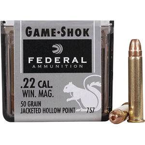 Federal .22 WMR Ammunition 50 Rounds, Game-Shok JHP, 50 Grains