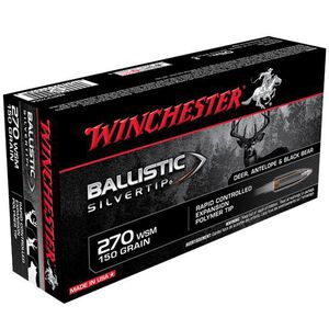 Ammo .270 WSM Winchester Supreme Ballistic Silvertip 150 Grain 3120 fps 20 Rounds SBST2705A