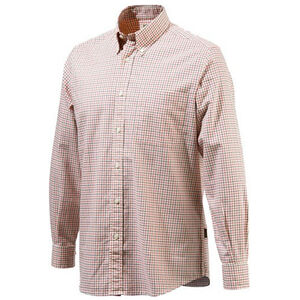 Beretta Men's Classic Drip Dry Shirt Long Sleeve 2XL Beige/Red Checkered