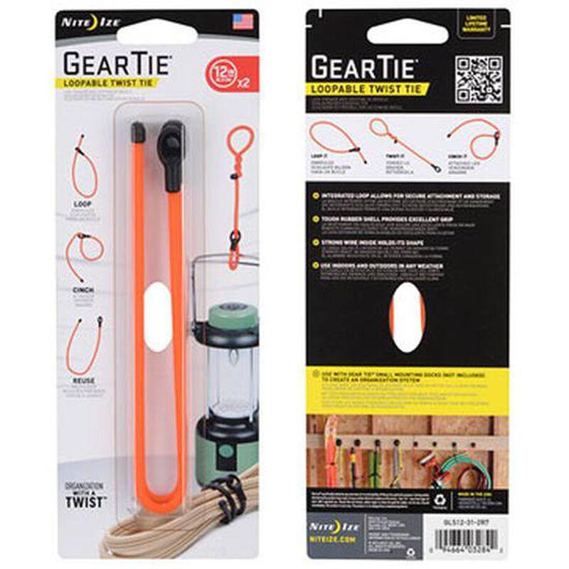 """Gear Tie Loopable Twist Tie 12"""" Bright Orange, 2 Pack"""