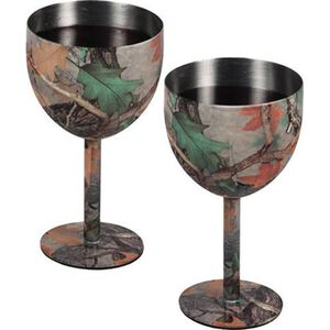 River's Edge Products Wine Glass Set Stainless Steel Camo Finish 985