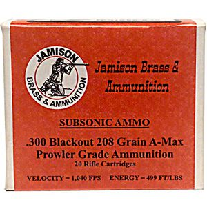 Jamison 300 AAC Blackout 208 Grain A-Max 20 Round Box