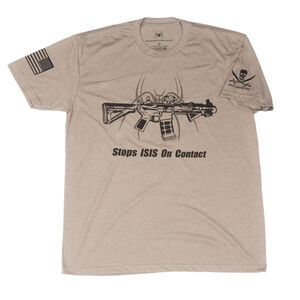 Spike's Tactical Stops ISIS On Contact Men's Short Sleeve T-Shirt Large Warm Grey