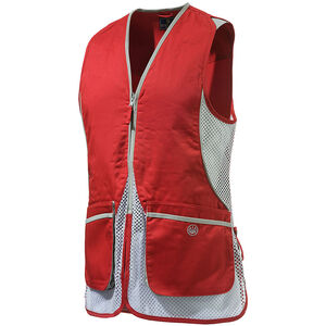 Beretta USA Women's Silver Pigeon Shooting Vest Cotton and Mesh Panels Easy-Glide Shooting Patches 3X-Large Red/White