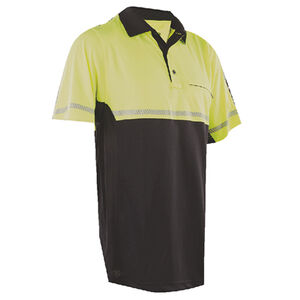 TruSpec  24-7 Mens Bike Performance Polo Shirt Medium with Reflective Tape Hi-Vis Yellow