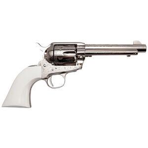 "Cimarron Frontier Revolver 45 LC 4.75"" Barrel 6 Rounds Polymer Ivory Grip Engraved Nickel"