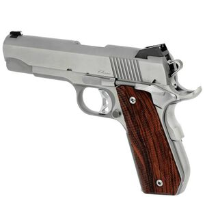"""CZ USA Dan Wesson 1911 Commander Classic Bobtail Semi Auto Pistol .45 ACP 4.25"""" Barrel 8 Rounds Fixed Night Sights Wood Grips Stainless Steel Brushed Finish"""
