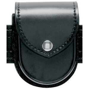 Safariland Model 290H Double Hinged Handcuff Pouch Leather-Look Synthetic Plain Hidden Snap Black 290H-1-2HS