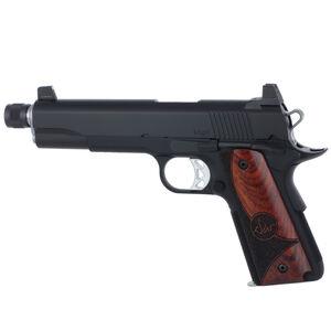 "Dan Wesson 1911 Vigil Suppressor Ready Semi Auto Pistol 9mm Luger 5.75"" Barrel 9 Rounds High Front Night Sight/High Rear Sight Wood Grips Forged Aluminum Frame Matte Black Finish"
