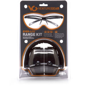 Pyramex Safety Products Ever-Lite Range Kit Ear and Eye Protection Combo Pack Safety Glasses with Clear Lenses and Black Frames Ear Muff with Foldaway Headband 26dB NRR Gray VGCOMBO8610