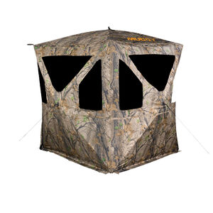 "Muddy Ravage Portable Ground Blind 77""x64"" Shoot Through Mesh Windows Epic Camo Carry Bag"