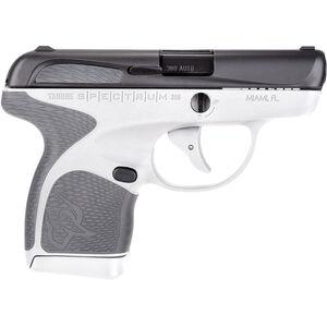 "Taurus Spectrum .380 ACP Semi Auto Pistol 2.8"" Barrel 6 Rounds White Polymer Frame with Grey Inserts Black Finish"