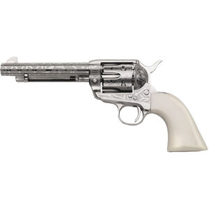 """Taylor's & Co. Inc. 1873 Cattle Brand .45 LC Single Action Revolver 5.5"""" Barrel 6 Rounds Blade Front Simulated Ivory Grip Engraved Nickel Finish"""