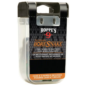 Hoppe's No. 9 Boresnake Snake Den .22 Caliber Pistol Length Pull Thru Bore Cleaning Rope with Bronze Brush and Carry Case with Pull Handle Lid