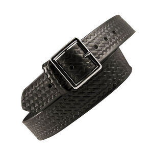 "Boston Leather Garrison Belt Value Line 1.75"" 42"" Waist Nickel Buckle Leather Basket Weave Black 6605-3-42"