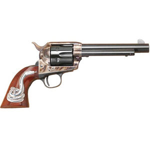 """Cimarron Man With No Name .45 LC Single Action Revolver 5.5"""" Barrel 6 Rounds Hollywood Series Walnut Grips with Rattlesnake Inlay Case Color/Blued Finish"""