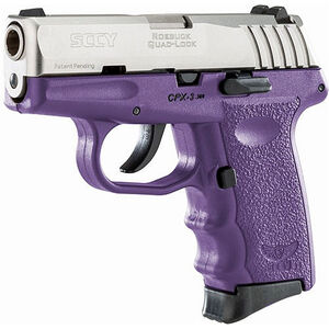 """SCCY CPX-3 .380 ACP Semi Auto Pistol 2.96"""" Barrel 10 Rounds No Safety Purple Polymer Frame with Stainless Slide Finish"""