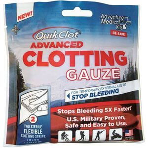 "Adventure Medical Kits QuickClot Advanced Clotting Gauze 2 pack 3""x24"" Homeostasis Gauze Pads 5020-0016"