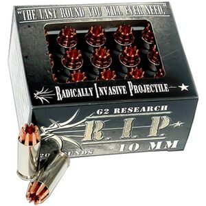 G2 Research R.I.P. Ammo 10mm AUTO Copper Hollow Point, 115 Grain, 1220 fps, 20 Round Box, RIP 10mm