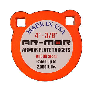 "AR-Mor Armor Plate Targets 4"" AR500 Gong Steel Shooting Target 3/8"" Thick Pre-Painted/Ready to Use Orange Finish"