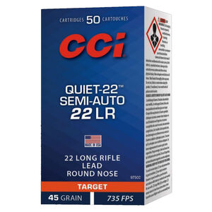 CCI Quiet-22 Semi Auto .22 Long Rifle Ammunition 50 Rounds 45 Grain Lead Rounds Nose 835fps