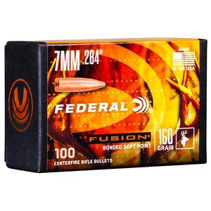 "Federal Fusion Bullets 7mm Caliber .284"" Diameter 160 Grain Fusion Bonded Soft Point Projectile 100 Count Per Box"