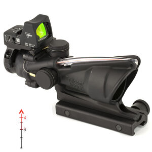 Trijicon 4x32 ACOG Scope, Dual Illuminated Red Chevron .223 Reticle with Colt Knob Thumbscrew Mount & LED 3.25 MOA Red Dot RMR Type 2