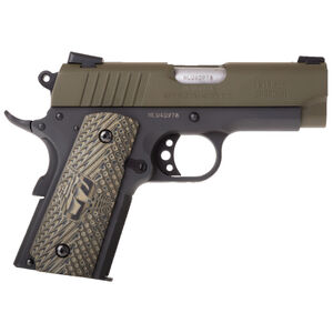 "Taurus Officer's 1911 .45 ACP Semi Auto Pistol 3.50"" Barrel 6 Rounds Novak Sights Two Tone Cerakote Green Slide/Black Frame"