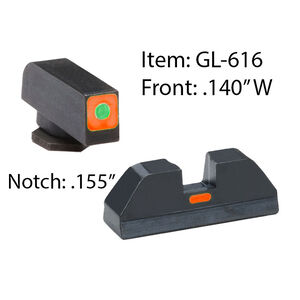 Ameriglo Sight Set for GLOCK Green Tritium Front Dot with Orange Square Outline and Orange Rear Blade
