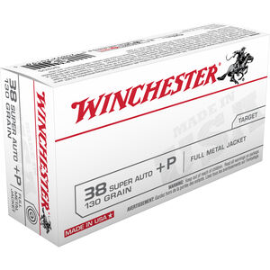 Winchester USA .38 Super +P Ammunition 500 Rounds, FMJ, 130 Grain