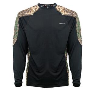 Medalist Men's Huntgear Insulating Long Sleeve Crew Shirt Polyester/Spandex Large Black/Camo M4545RTBLL