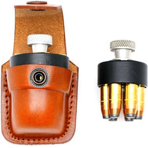 "JBP Single Speed Loader Case Fits .357 and .44 Magnum Brown Leather Pouch  Fits up to 1 3/4"" Belt"