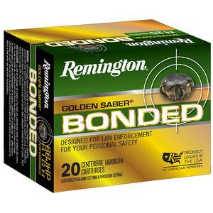 Remington Golden Saber Bonded 9mm Luger +P Ammunition 124 Grain Bonded Nickel Plated Brass JHP 1125 fps