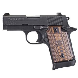 "SIG Sauer P938 Select Semi Auto Pistol 9mm Luger 3"" Barrel 7 Rounds SIGLite Sights SAO System Ambi Safety Custom G10 Grips Alloy Frame/Stainless Steel Slide Matte Black Finish"