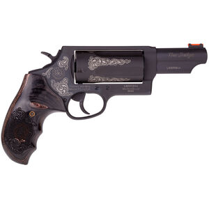 "Taurus Judge Magnum Engraved .45 Long Colt/.410 Bore Double Action Revolver 3"" Chamber 3"" Barrel 5 Round Fixed Rear and Fiber Optic Front Sights Black Wood Grip and Matte Taurus Blue Finish"