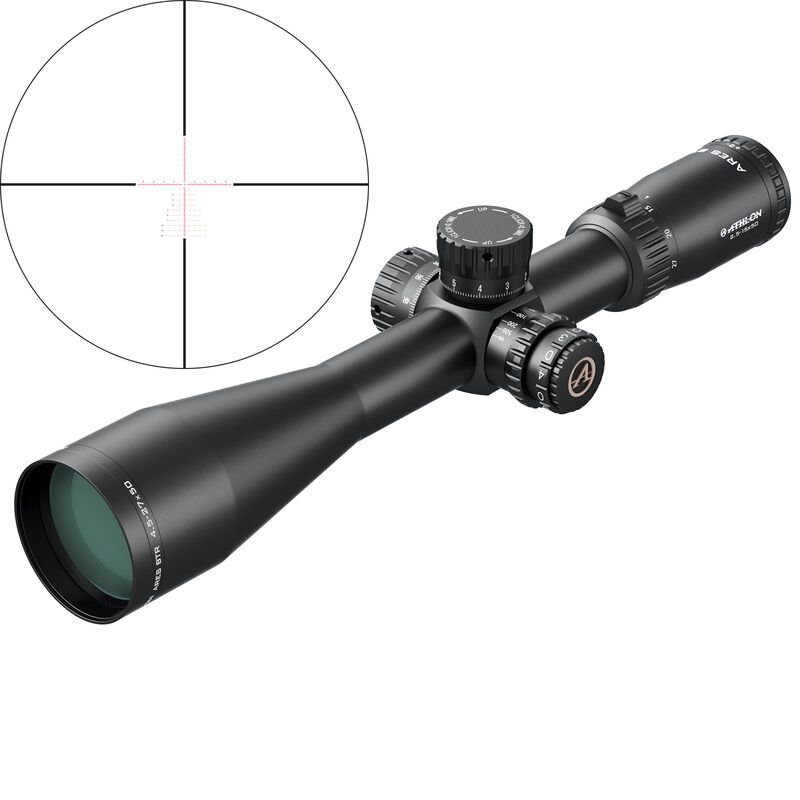 Athlon Ares 4.5-27x50 Riflescope Illuminated Etched Glass Mil Reticle 30mm Tube 0.1 Mil Adjustment Side Adjust Parallax First Focal Plane Matte Black