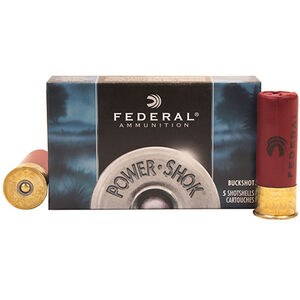 "Federal Power-Shok 20 Gauge Ammunition 5 Rounds #2 Buck 18 Pellets 3"" Length"
