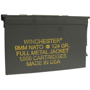 Winchester 9mm NATO Ammunition 1000 Round Ammo Can 124 Grain FMJ 1140fps