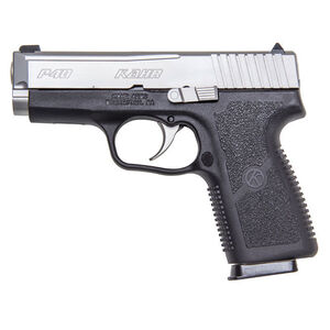 """Kahr Arms P40 Semi Automatic Handgun .40 S&W 3.5"""" Barrel 6 Rounds White Bar Dot Sights Polymer Frame Matte Stainless Steel Finish"""