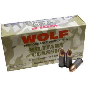 Wolf Military Classic 9mm Luger Ammunition 115 Grain Full Metal Jacket Steel Cased Bi-Metal Jacket 1234fps