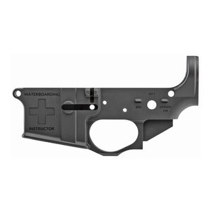 Spikes Tactical AR-15 Forged Stripped Lower Receiver Multi Caliber Water Boarding Logo Non-Color Filled Aluminum Black