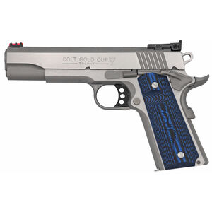 """Colt 1911 Gold Cup Lite Semi Auto Pistol .38 Super 5"""" National Match Barrel 9 Rounds Fiber Optic Front Sight/Bomar Style Rear Sight Colt G10 Grips Brushed Stainless Steel"""