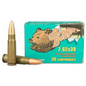 Brown Bear 7.62x39mm Ammunition 20 Rounds, FMJ, 123 Grain