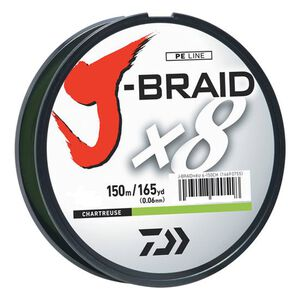 J-Braid Braided Line, 40 lbs Tested 165 Yards/150m Filler Spool, Chartreuse