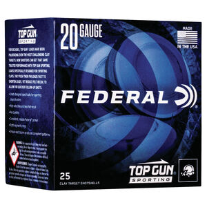 "Federal Top Gun Sporting 20 Gauge Ammunition 2-3/4"" Shell #8 Lead Shot 7/8 oz 1250 fps"