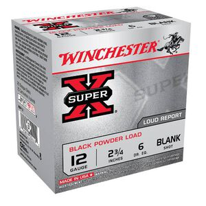 "Winchester Super-X 12 Gauge Ammunition 25 Rounds 2-3/4"" Black Powder Blank Load For Movie or Special Effect Use"