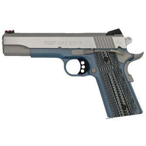 "Colt Competition 1911 Series 70 Government Model Semi Auto Pistol 9mm Luger 5"" Barrel 9 Rounds Fiber Front Sight Novak Rear Sight G10 Blue Titanium Frame Finish"