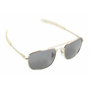 HUMVEE Military Sunglasses, Bayonette Style Military Sunglasses with Grey Lenses and Gold Frame, 52mm (HMV-52B-GOLD)